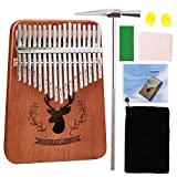MASCARRY 17 Keys Thumb Piano, Portable Mbira Wood Finger Piano with Tuning Hammer and Study Instruction, Musical Instrument Gifts for Kid Adult Beginners (2019 New Design)
