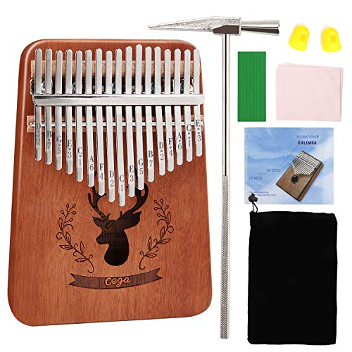 MASCARRY 17 Keys Thumb Piano Portable Mbira Wood Finger Piano with Tuning Hammer and Study Instruction Musical Instrument Gifts for Kid Adult Beginners