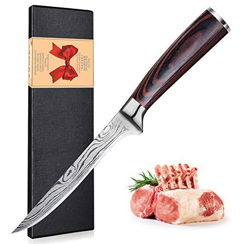 UniqueFire - Cuchillo para deshuesar profesional, cuchillo de red de sole, acero al...