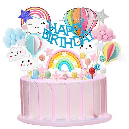 Herefun Tortendeko Regenbogen Geburtstagskuchen, Tortendeko Geburtstag Luftballon Happy Birthday Topper Sterne Wolke Kuchendekoration Geburtstag für Kinder Mädchen Junge