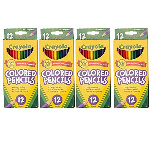 68-4012 Colored Pencils, 12-Count, Pack of 4, Assorted Colors