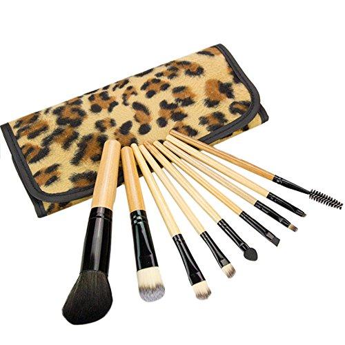 RATWIFE Piezas de Maquillaje Brocha Maquillaje Cepillo Conjunto portátil Profesional Grado 9 DE Leopardo Amarillo impresión 9 Piezas