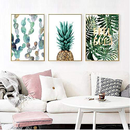 Groene planten-hema vitaliteit abstract poster anananas muurkunst Scandinavisch canvas schilderij decoratie afbeelding 50x70cmx3 niet ingelijst