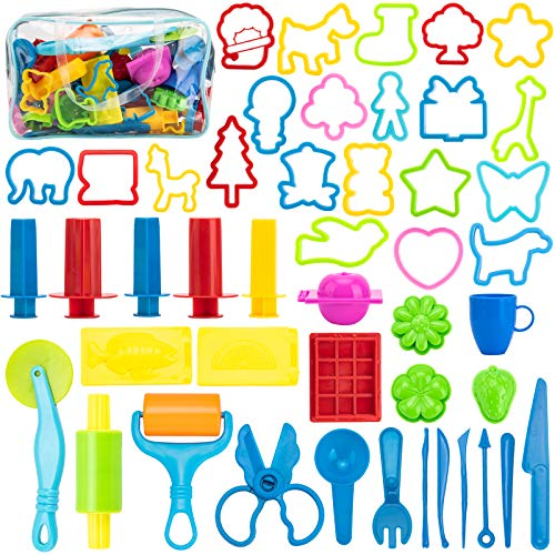 Maykid Play Dough Tools for Kids, 46PCS Playdough Tools Kit Include Dough Accessory Molds Rollers Cutters Scissors and Storage Bag