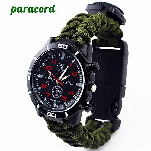 MSxx Outdoor Survival Sport Uhr 6-in-1 Professionelle Notfall-Militär Paracord Multifunktions-Armband Erste-Hilfe-Kit Armbanduhr Unisex, grün