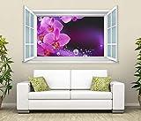 3D Wandtattoo Fenster Orchidee Blume lila Wand Aufkleber Wanddurchbruch Wandbild Wohnzimmer 11BD1203, Wandbild Größe F:ca. 140cmx82cm