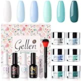 Gellen Dip Powder Nail Starter Kit - 6 Colors Acrylic Dipping Powders - with Base Top Coat/Activator/Brush Saver Essential Tools, Trendy Nail Art Manicure Set, Ocean Sky