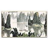 Arte de pared abstracto pintura de paisaje chino barco montaña agua carteles e impresiones cuadros de pared para decoración de sala de estar 20x35 CM (sin marco)