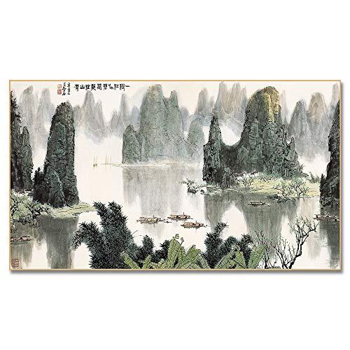 Abstrakte Wandkunst Chinesische Landschaft Malerei Boot Bergwasser Poster und Drucke Wandbilder für Wohnzimmer Dekoration 30x55 CM (Kein Rahmen)