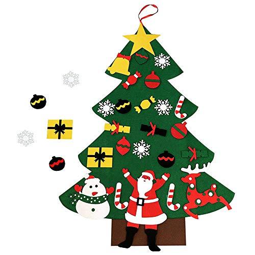 Árbol de Navidad de fieltro,24 piezas de adornos de Navidad Decoración de pared con cuerda colgante, 37.4x27.6 pulgadas Kit de árbol de fieltro hecho a mano de bricolaje para niños Regalo