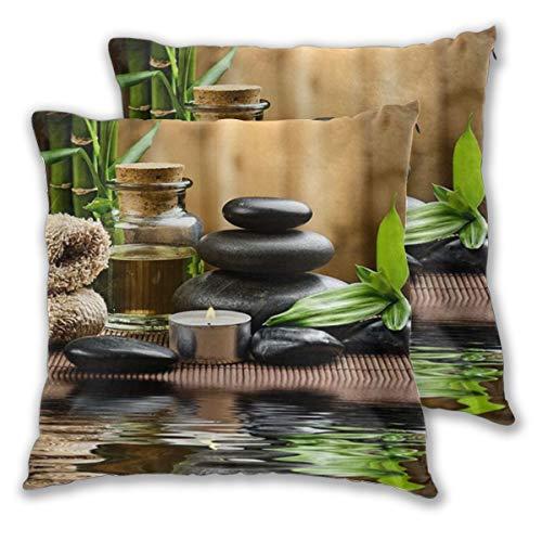 ELIENONO Juego de 2 Decorativo Funda de Cojín Piedras de basalto Zen Bambú sobre Madera y Agua Meditación Yoga SPA Funda de Almohada Cuadrado para Sofá Cama Decoración para Hogar,45x45cm