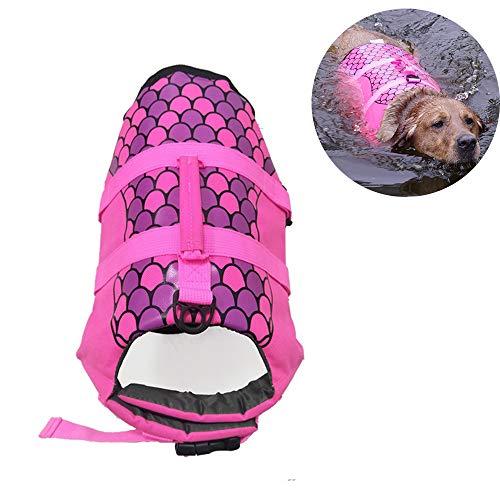 LKIHAH Warnschutzgurt Rettungsweste Hund Sicherheitsweste Haustier Jacke Hundeschwimmweste Haustier Schwimmweste Schnalle,Rosa,XS