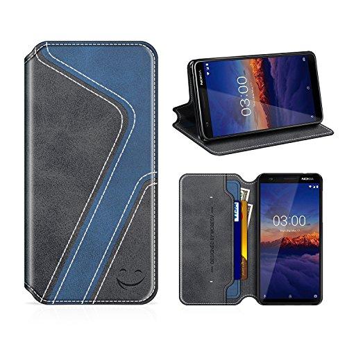 MOBESV Smiley Nokia 3.1 Hülle Leder, Nokia 3.1 Tasche Lederhülle/Wallet Hülle/Ledertasche Handyhülle/Schutzhülle für Nokia 3.1, Schwarz/Dunkel Blau