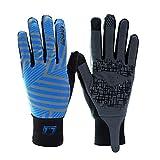Guantes para montar con los dedos completos Guantes para montar con los dedos largos Pantalla táctil Guantes para montar en primavera y otoño Almohadilla de gel Guantes para bicicleta - DVG003-Azul, S