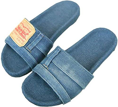 AAQQ Elegantes zapatillas de mezclilla antideslizantes, para el hogar, pantuflas informales de moda para mujer, zapatillas únicas y cómodas, regalo de verano para novia y esposa. -37_Azul claro