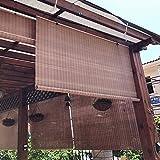ZAQI Estores Enrollables Cortinas enrollables Impermeables para Patio Exterior, Bambú marrón Persianas enrollables con Filtro de luz, con Cuerda y herrajes, 50 70 90 110 130 cm de Ancho