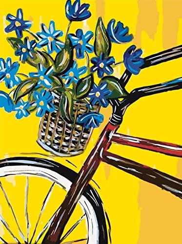 Wzjxzsynl DIY digitaal schilderen op cijfers blauwe bloemen in een fietsmand, cadeau voor volwassenen en kinderen, verjaardag, bruiloft, kerstdecoratie, decoraties