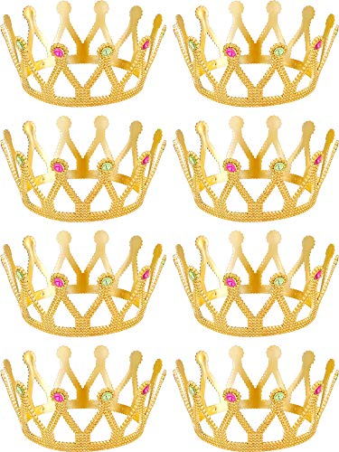 8 Pieces Gold Crown Royal Queen Crown King and Queen Princess Headwear Jeweled Costume Accessories