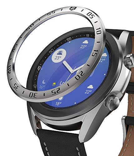 Ringke Bezel Styling für Galaxy Watch 3 41mm Hülle, Lünette Ring Kleber Abdeckung Kratzfest Edelstahl Schutz für Galaxy Watch3 Zubehör - Silber [41-01]