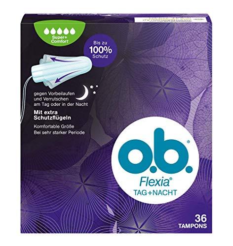 o.b. Flexia Tag+Nacht Super+ Comfort Tampons für sehr starke Tage mit einzigartigen SilkTouch Schutzflügeln (1 x 36 Stück)