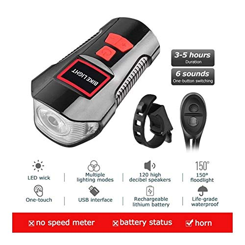 Bicycle Light USB Charging Waterproof Bike Front Light Flashlight Handlebar Cycling Head Light W/Horn Speed Meter LCD Screen (Color : Ordinary Edition Red)