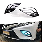 Super Bright LED Daytime Running Light Three-Color DRL for Toyota Camry 2018-2020 Replacement Front Bumper Fog Lamp Assembly Shell-Type Model C 1 Pair(Front L/R)