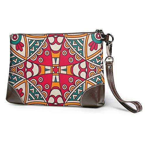 GLGFashion Carteras de cuero para mujer Native American Inspired Retro Aztec Pattern (2) Women's Travel Leather Wristlet Clutch Purses Makeup Cosmetic Case Portable Storage Bag Wallet Handbag