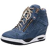 rismart Cuñas Oculta Zapatillas Mujer Alta Deportivas Sneakers Mezclilla Cómoda Cojín Botines Azul 38 EU