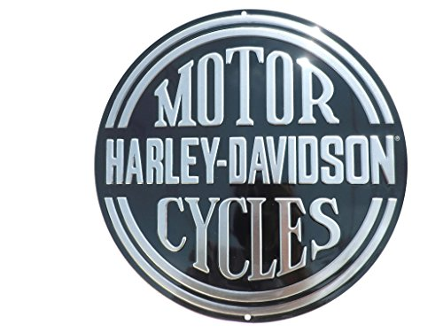 Harley-Davidson Embossed H-D Platinum Disc Round Tin Sign, Black 2010701