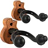 Guitar Wall Mount Hanger 2-Pack, Moodve Mahogany Guitar Hanger For Wall, Guitar Hook Holder Stand For Bass Electric Acoustic Guitar Ukulele (Red)