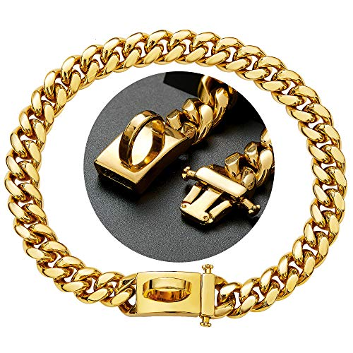 Gold Dog Chain Collar Walking Metal Chain with Design Secure Buckle, 18K Cuban Link Strong Heavy Duty Chew Proof for Small Dogs. (15MM, 12')