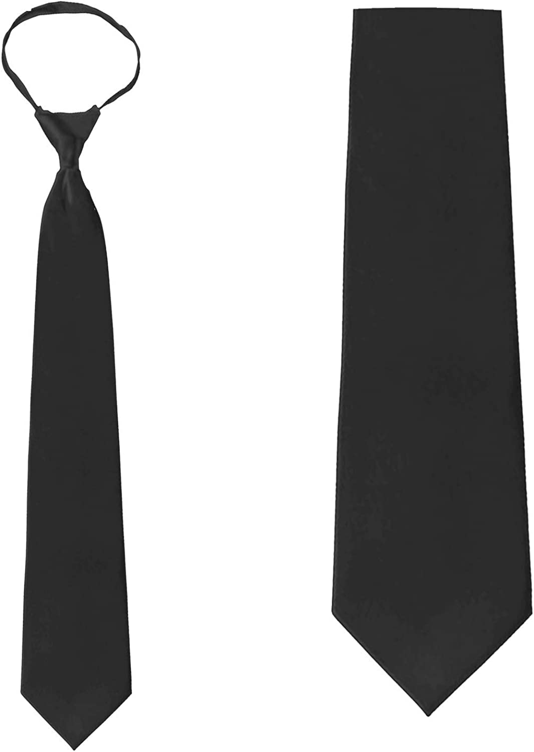 Solid Black Zipper Tie Pre-Tied Mens Spring new work one after another Necktie We OFFer at cheap prices