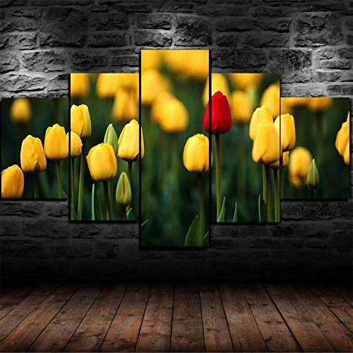 13Tdfc Cuadros Decor Salon Modernos 5 Piezas Lienzo Grandes XXL Murales Pared Hogar Pasillo Decor Arte Pared Abstracto Tulipanes Rosa Flores HD Impresión Foto 150X80Cm Regalo