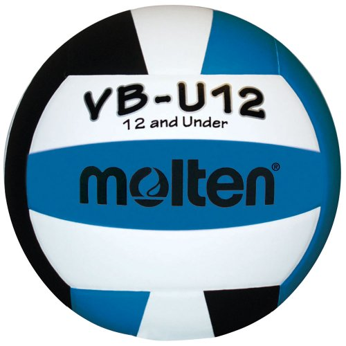 Molten VBU12 Light Volleyball, Unisex Kinder, VBU12-AQUA/BLK, Aqua/Schwarz/Weiß, 12 &Under/8.1-Ounce