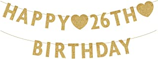 Gold Happy 26th Birthday Banner, Glitter 26 Years Old Woman or Man Party Decorations, Supplies