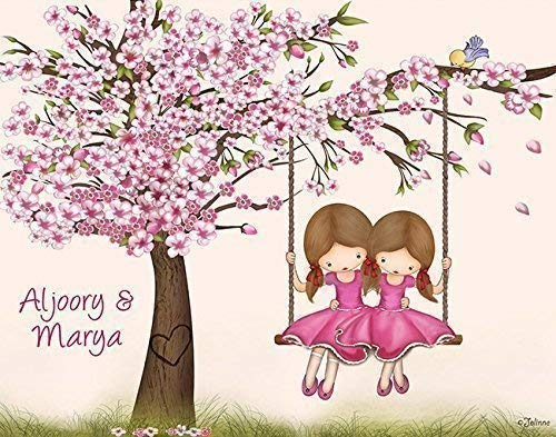 Personalized Gift for Girls Custom Names (Optional) Wall Art Cherry Blossom Tree Poster Room Decor Customized Hair and Skin Color