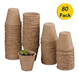 *Funmo-Planters biodegradables,*8cm tests per a Flores *Planta pot amb Etiquetes -100% Biodegradable, orgànic i ecològic (Paquet de 80)