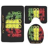 N\A ON The of Reggae Just Relax Grunge 3PCS Franela Antideslizante Asiento de Inodoro + Almohadilla para los pies + Alfombrilla de baño Set de baño Decoración de Inodoro