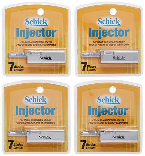 Schick Injector Razor Blades, 7-Count Boxes (Pack of 4)