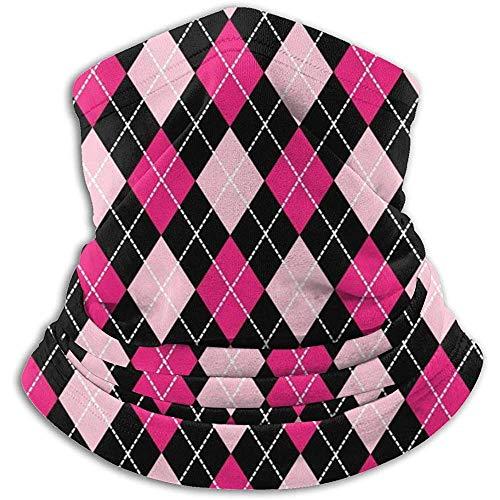 Plaid In Pink Und Schwarz Halswärmer Schal Gamasche Gesichtsmaske Bandanas Für Staub Kaltes Wetter Winter Im Freien