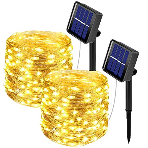 [2 Pack]Outdoor Solar Garden Lights, Ooklee Solar Fairy String Light, 10M 100LED 8 Modes, Waterproof Copper Wire Lighting for Patio Outside Home Gazebo Festival Fence Christmas Decorations(Warm White)