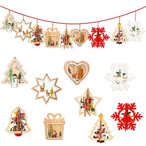 Gudotra 12pz Addobbi per Albero di Natale 3D in Legno Ornamento Natalizi Ciondoli da Appendere Decorazione Natalizi per Regalo Biglietti (12pz)