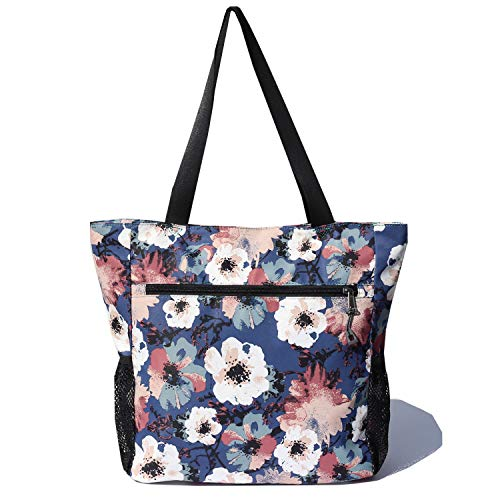 Original Floral Water Resistant Tote Bag Large Shoulder Bag with Multi Pockets for Gym Hiking Picnic Travel Beach Daily Bags
