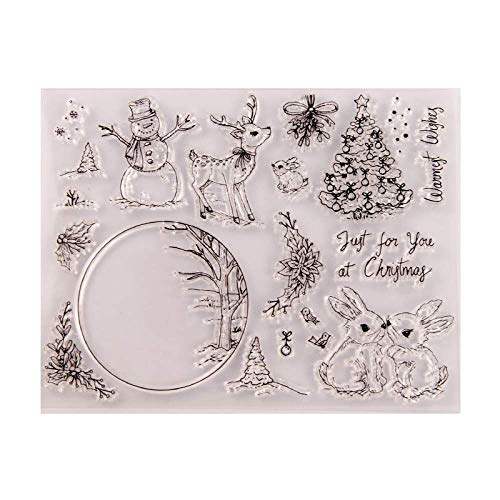 Just for You Snowman Deer Bunnies Crystal Ball Clear Rubber Stamps for Scrapbooking Card Making Christmas Craft Stamps