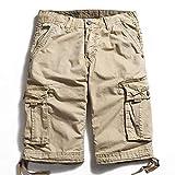 Katenyl Pantalones Cortos de Carga al Aire Libre para Hombres Costura Multibolsillos Tendencia Ropa de Calle de Gran tamaño Casual Pantalones Cortos cómodos de Cintura Media 38