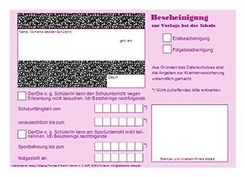 Wolfgang Thomas & Rudolf Wähner Schulbescheinigung, DIN A6, Einzelblätter, 120 Stück, Magenta