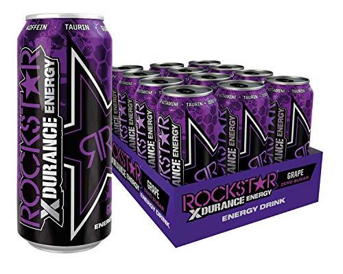 Rockstar Energy Drink XDurance Grape - Koffeinhaltiges Erfrischungsgetränk für den Energie Kick, EINWEG (12x 500ml)