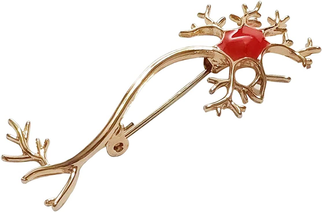 Gold Plated Red Enamele Nerve Cell B Gift Medical Nurses Doctors Opening large release sale Bombing new work