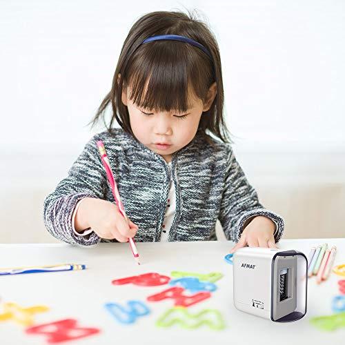 鉛筆削り電動AFMAT鉛筆削り自動白えんぴつ削り6-8mm対応芯先太さ調節自動停止機能長寿命子供学校入園入学事務用6-8mmの2B鉛筆色鉛筆に適用
