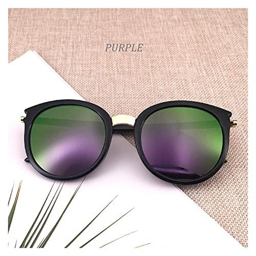 WWWL Gafas de Sol Classic Round Vintage Gafas de Sol Mujer Moda Marca Diseño Espejo Gafas Sol Sombras Mujeres Retro (Lenses Color : Purple)